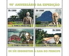 "São Tomé and Príncipe issued a set of stamps to mark the 90th anniversary of Arthur Eddington's eclipse expedition to the island. The results supported Einstein's General Theory of Relativity. (Credit: Ian Ridpath) Mona Evans, ""Einstein's Eclipse"" http://www.bellaonline.com/articles/art183980.asp"