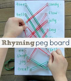 Could make a blank peg board and use a dry erase marker to change the options (math facts, opposites, rhyming words) Rhyming Activities, Educational Activities, Learning Activities, Activities For Kids, Teaching Reading, Teaching Tools, Kids Learning, Rhyming Words, Kindergarten Literacy