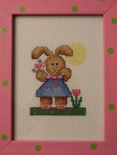 Cute spring cross stitch bunny - love the frame!