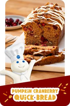 Healthy Cake Recipes, Baking Recipes, Cookie Recipes, Dessert Recipes, Cranberry Quick Bread, Cranberry Recipes, Pillsbury Dough, Pillsbury Recipes, Pumpkin Recipes