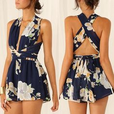Cheap fashion jumpsuit, Buy Quality jumpsuit fashion directly from China short jumpsuit Suppliers: 2016 Lady Women Fashion Sexy Sleeveless V-Neck Cross Bandage Floral Slim Chiffon Club Short Jumpsuit Short Beach Dresses, Sexy Dresses, Summer Dresses, Casual Dresses, Kohls Dresses, Sleeveless Dresses, Fall Dresses, Pretty Dresses, Mode Outfits