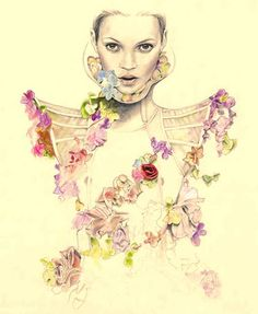 Kate Moss wearing an Alexander McQueen dress by Cedric Rivrain fashion illustration Kate Moss, Floral Fashion, Fashion Art, Moss Fashion, Fashion Images, King Fashion, Fashion Models, Fashion Trends, Collage Kunst