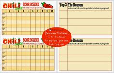 Hosting a Chili Cook-Off in 5 Easy Steps - Scorecard printable (free)
