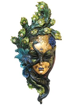 Peacock Feathers Carnival Mask Wall Plaque - Wall Decor - Veronese Collection