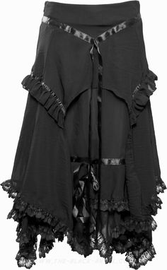 Long black ruffled skirt by Sinister Clothing, with lace fringes and satin ribbon detail.