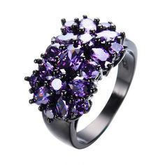 Amethyst Black Gold Filled Ring Unique Design Vintage Party Wedding Rings For Women Christmas Fashion Jewelry