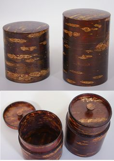 Tea caddies made of super thin cherry bark wood. The old village where they still make it - the only place in all of Japan. Kakunodate (just southeast of Lake Tazawa). Tea Container, Chinese Crafts, Coffee Box, Japanese Tea Ceremony, Tea Packaging, Tea Tins, Tea Caddy, Tea Art, Tree Bark