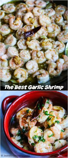 The Best Spanish Garlic Shrimp - this is the best garlic shrimp I have ever made. The shrimp is marinated with garlic and then cooked in garlic oil #appetizer #shrimp