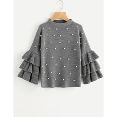 SheIn(sheinside) Pearl Beading Tiered Ruffle Sleeve Jumper (2495 DZD) ❤ liked on Polyvore featuring tops, sweaters, grey, tiered ruffle sleeve sweater, long sleeve tops, grey sweater, long sleeve jumper and grey pullover sweater