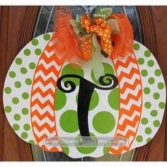 Monogrammed Polkadot & Chevron Pumpkin Fall Door by SparkledWhimsy, $40.00