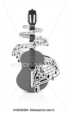Drawings of Music notes with guitar player k18520264 - Search Clip ...