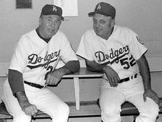 The brain trust of the Dodgers from Hall of Fame managers Walter Alston and Tommy Lasorda. Between them, they won games, 11 NL pennants, 6 World Series and 8 NL Western Division titles. They also had their uniform numbers retired by the Dodgers. Dodgers Nation, Dodgers Baseball, Baseball Players, Baseball Wall, Baseball Guys, Dodgers History, Steve Garvey, Fourth World