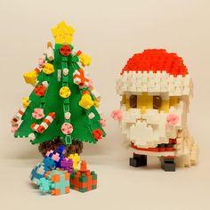 サンタとクリスマスツリーです。ツリーはちょっと変わった組み方してます。 #nanoblock #ナノブロック #kawada #カワダ #christmas #xmas #クリスマス #santaclaus #サンタクロース #christmastree #クリスマスツリー #PhotoContest_mnb_201601