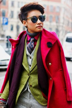 Esther Quek wearing all the layers and looking amazing
