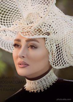 عکس جدید و زیبای خانم الهام حمیدی با آرایش خاص و جذاب و کلاه توری سفید