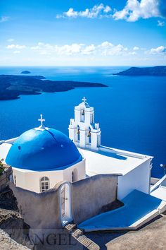 Santorini; Greece; Aegean Sea; blue church; sea; white; blue Santorini Greece, Paradise, Greek, Island, Mansions, House Styles, Blue, Beauty, Greek Language