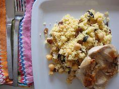 Bifinhos de Peru com Limão e Couscous com Passas e Azeitonas