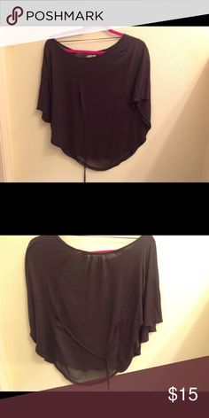 Zara Trafaluc blouse Super cute Zara blouse charcoal color  Poncho style with a sheer back NWOT in mint condition. This blouse is a medium and too small for me so I can't model. Zara Tops Blouses