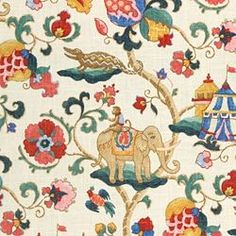 Floral large Print by Duralee...tents and elephants...FUN!
