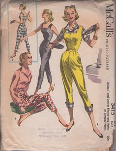 McCall's 3415 Vintage 50's Sewing Pattern SIZZLING Rockabilly Vixen Pin Up Square Neck Capri Pants Jumpsuit, Romper, Pants & Wing Collar Blouse