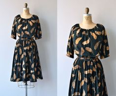Featherleaf dress  vintage 1970s dress  printed by DearGolden