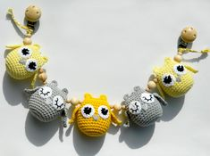 Yellow stroller toy  Pram chain with owls Yellow crochet stroller chain Toddler toys Stroller rattle Crochet teething toy Baby shower gift by PatiikCrochet on Etsy