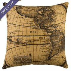 Add a lovely touch to your living room or den with this artfully crafted burlap pillow, showcasing a world map motif in black and beige.  Product: PillowConstruction Material: Burlap coverColor: Black and beigeFeatures:  Insert includedMade in the USAZippered enclosure Handmade by TheWatsonShop Cleaning and Care: Spot clean