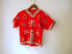 Vintage Asian Chinese red Silky embroidered Top by houuseofwren