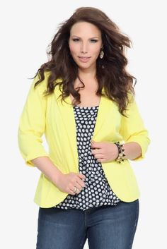 Amazon.com: Torrid Plus Size Yellow Ponte Peplum Blazer: Clothing