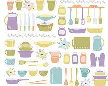 Kitchen & Cooking Clip Art - Shabby Colored Digital Cliparts for Recipe Book, Party, Scrapbook, Card, Invites | Commercial License Available
