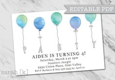 Fun Blue Watercolor Balloons Party Invitation files for you to edit and print how and where you would like! Perfect for a boy's birthday party.