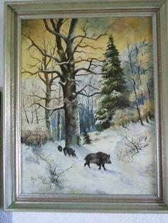Ölgemälde auf Leinwand «Wildschweine» um 1961