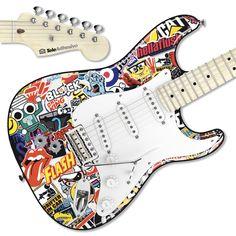 Pegatina guitarra Sticker Bomb sobre el cuerpo. #decoracion #guitarra #electrica #fender #stratocaster #vinilo #pegatina