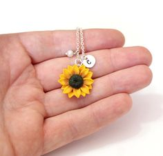 Sunflower Necklace Yellow Pendant Personalized Initial Disc