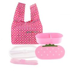 Japanese Bento Lunch Box Set Pink Strawberry with Chopsticks $7.50