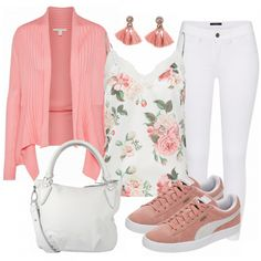 Love the white pants and floral on the top. The cardigan completes the look.