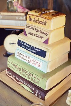 If I ever get rich and throw myself a embarrassingly large birthday party, this will be my cake... but I'd change the books.