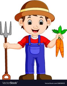 Cartoon young farmer holding rake vector image on VectorStock Cartoon Cartoon, Cartoon Monkey, Happy Cartoon, Cartoon Characters, Community Helpers Worksheets, Community Helpers Preschool, Clipart Boy, Young Farmers, Flashcards For Kids