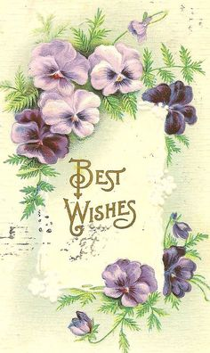 Purple pansies & Best Wishes by in pastel.  Hope your wishes come true this week, Rada!! ❤️