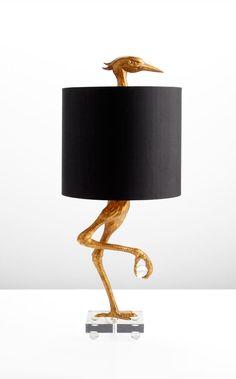 Black ostrich lamp