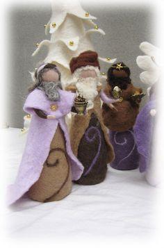 Needle felted and wet felted Nativity Set C felted by LivelySheep, €57.00