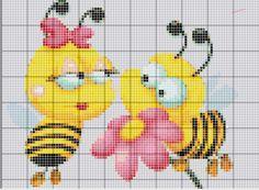 **Blog Amor Perfeito** Gráficos de ponto cruz: Abelhinhas Simple Cross Stitch, Cross Stitch Baby, Cross Stitch Patterns, Cute Bee, Perler Beads, Tricks, Tweety, Animation, Cartoon