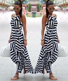 Sexy Maxi Dress Black And White Striped