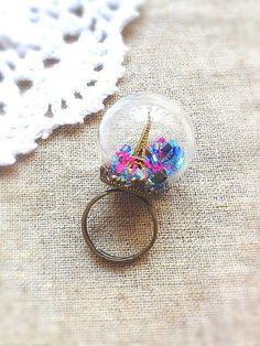 Paris Eiffel Tower  Glass Globe Ring by InteresGift on Etsy, $22.99