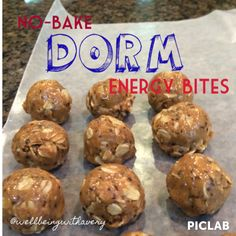 70 calorie energy bites…only takes 5 minutes and easy to make in a dorm room!