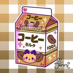 100% Coffee Milk ☕ . . . #coffeecat #coffeelover #coffeemilk #catlove #originalcharacter ##jennilustrations