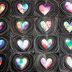Here are the grade hearts that were cut out of the copy paper dyed by those coffee filters I start kids early on line control as they drive those metallic markers around and try not to crash! Valentines Art Lessons, Valentine Crafts, Valentines Art For Kids, Classroom Art Projects, Art Classroom, First Grade Art, Kindergarten Art, Collaborative Art, Art Lessons Elementary