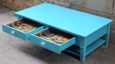 Sold (can Make Similar For You) Custom Made Turquoise Shabby Chic Coffee Table…
