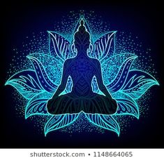 Inner love, light and peace. Buddha silhouette in lotus position over colorful ornate mandala. Buddha Kunst, Art Buddha, Buddha Drawing, Buddha Painting, Yoga Painting, Mandala Art, Mandala Drawing, Buddha Lotus Tattoo, Lotus Kunst