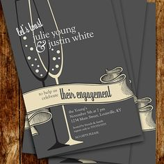 SteinbeckDesign - Toast Your Engagement Party Invitations @Etsy